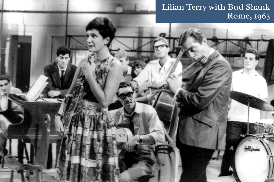 Lilian Terry and Bud Shank performing on television, Rome, 1963